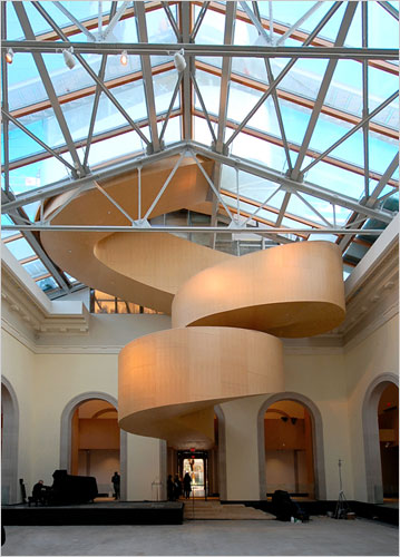 frank gehry's staircase at the art gallery of ontario. courtesy of ny times and gehry partners.