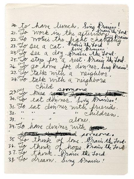 96 Sacraments, from Paul Thek's notebook #75, c. 1975
