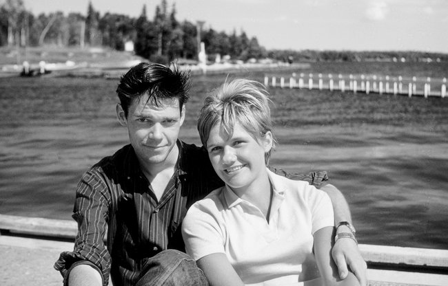 Neil Young with his first girlfriend, Pam Smith, at Falcon Lake, Manitoba, August 1964.