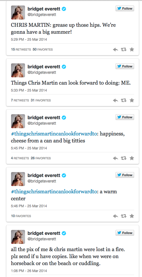 bridgett everett's hilarious chris martin tweets