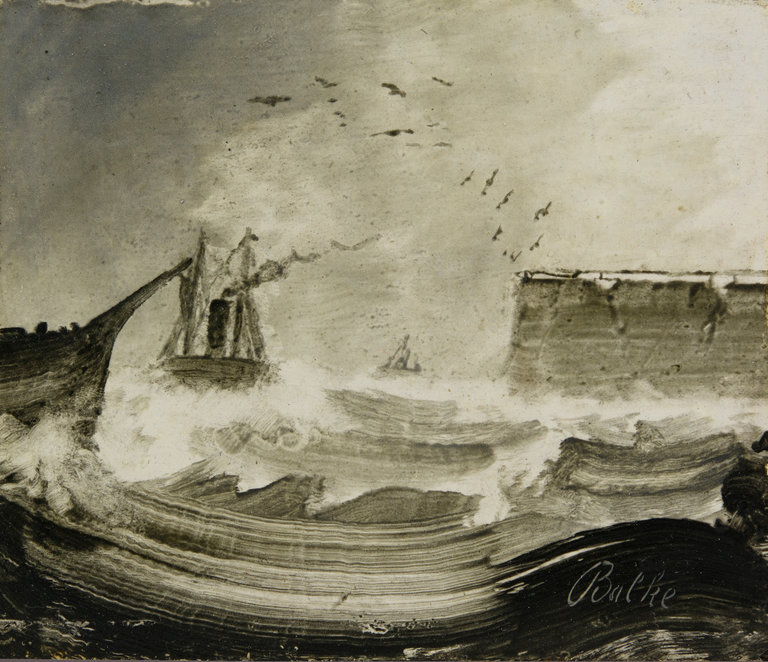 """Ships in a Storm,"" an oil on wood from the 1870s, is part of the exhibition ""Peder Balke: Painter of Northern Light"" at the Metropolitan Museum of Art. Credit Peder Balke; Collection of Mickey Cartin"