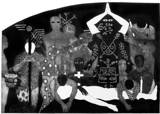 Belkis Ayón, Nlloro (Nlloro), 1991. Collograph. Collection of the Belkis Ayón Estate.