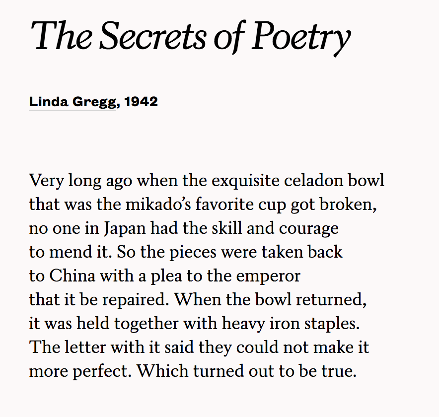 linda gregg, the secrets of poetry. courtesy of poets.org.