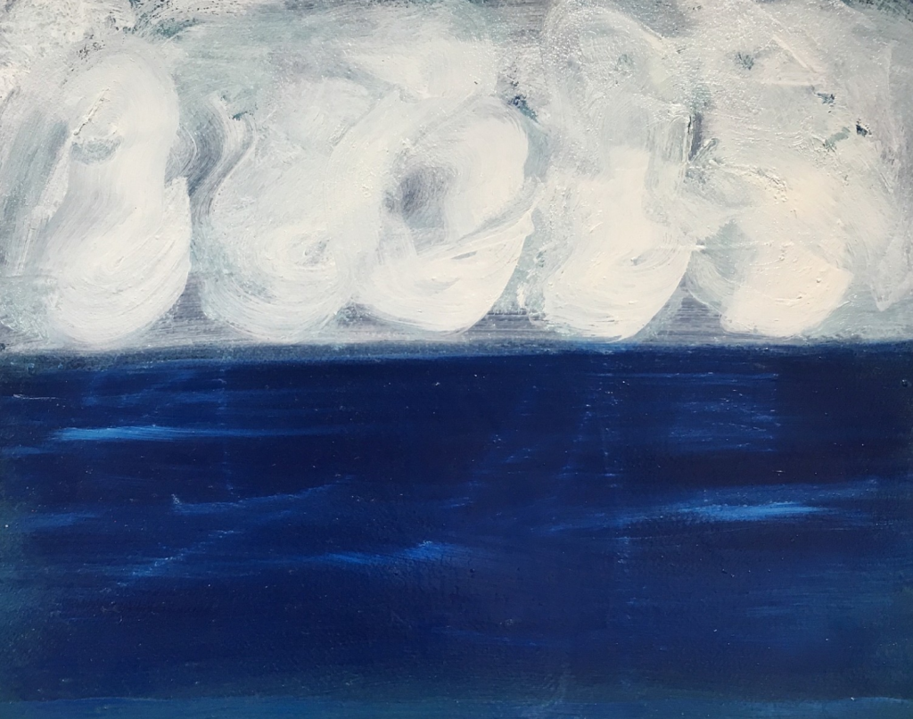 Kathryn Lynch Sea and Clouds, 2017 lyn693  oil on paper, 12 x 16 inches