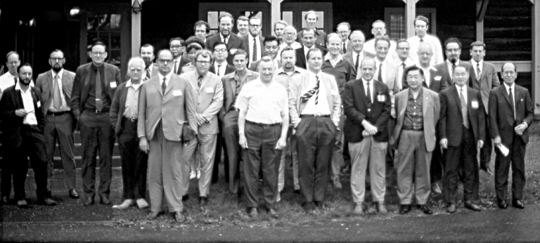 Sheila Minor Huff, center left and partly obscured, was just beginning her career when she was photographed at the International Conference on the Biology of Whales in Virginia in 1971. Credit via the National Oceanic and Atmospheric Administration