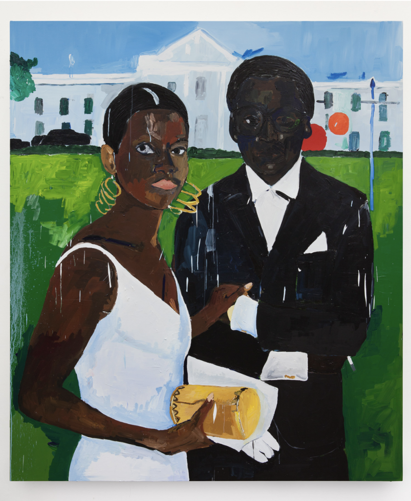 Henry Taylor, Cicely and Miles Visit the Obamas, 2017 Acrylic on canvas 84 x 72 inches