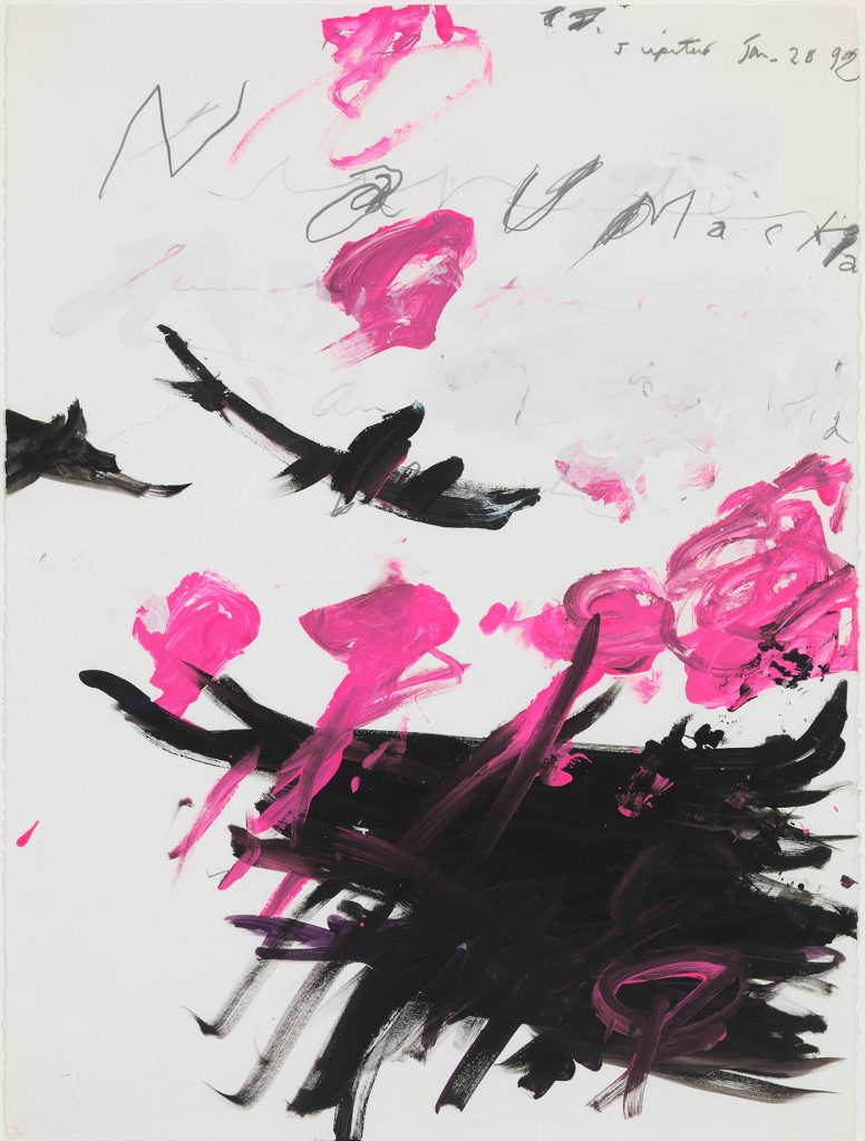 Cy Twombly .Naumachia, 1992. Acrylic and pencil on paper.30 1/16 x 23 7/16 inches. 76.4 x 59.5 cm (unframed). Private Collection, New York. Photo: © Cy Twombly Foundation. Courtesy Gagosian.
