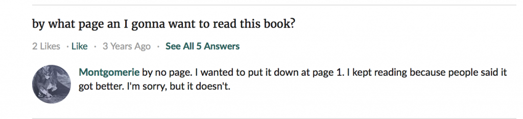 goodreads user straight diss on incarceron