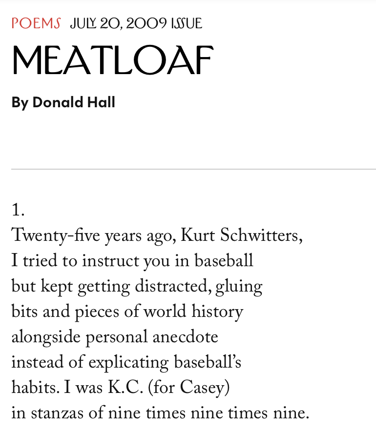"""meatloaf"" by donald hall"