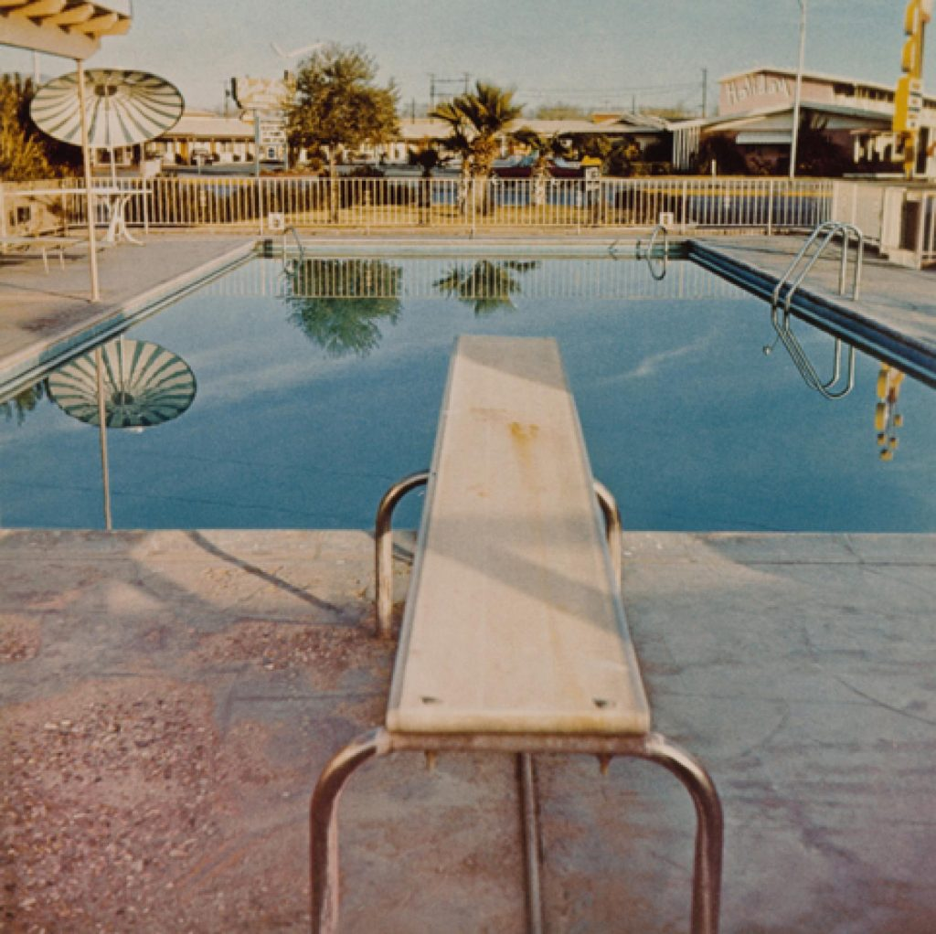 Ed Ruscha (American, b. 1937), Pool #2, from the portfolio Pools, 1968; printed 1997. Chromogenic color print, 40.4 x 40.7 cm (image). Edward Ruscha Papers and Art Collection, 2013.16.2 © Ed Ruscha. Courtesy Harry Ransom Center.