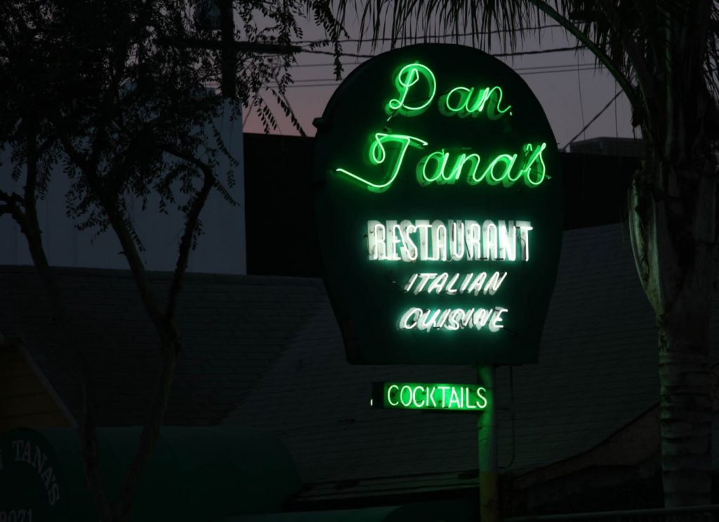 dan tana's neon sign in west hollywood, ca. courtesy of wehoville.