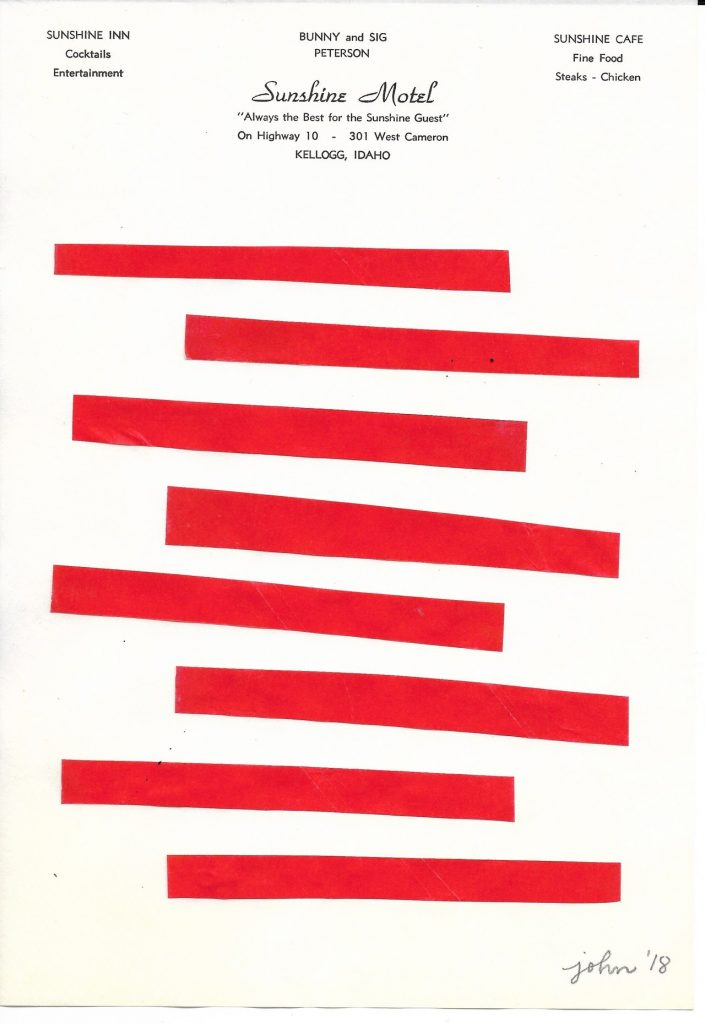 John Zabawa 8 Red Stripes, 2018 Ink on Hotel Letterhead 9x12