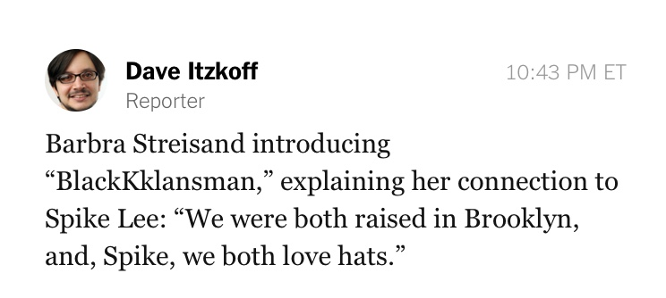 dave itzkoff live tweeting barbra streisand introduction of black kkklansman