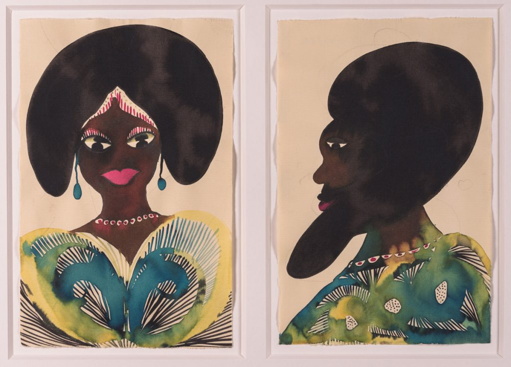 Chris Ofili (b. 1968—) Untitled (diptych from Afro Muses series), 1995-2005 Conte crayon on butcher paper 72 × 48 in. The Studio Museum in Harlem; gift of Anne Ehrenkranz in honor of Nancy L. Lane 2006.22.1