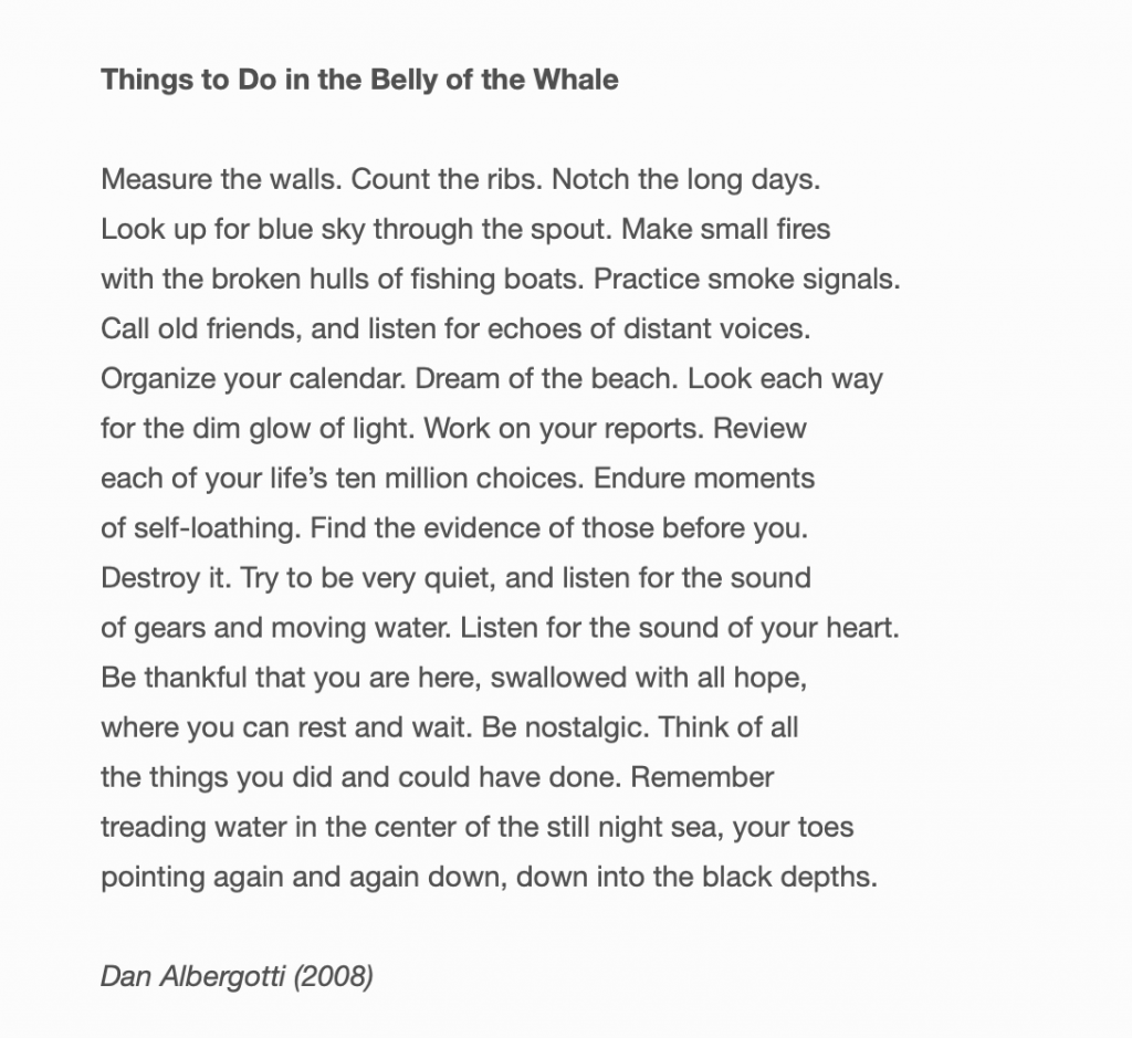 """""""things to do in the belly of the whale"""" by dan albergotti"""