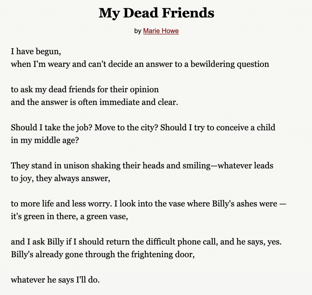 "marie howe, ""my dead friends"" (1998). courtesy of the writer's alamanac."