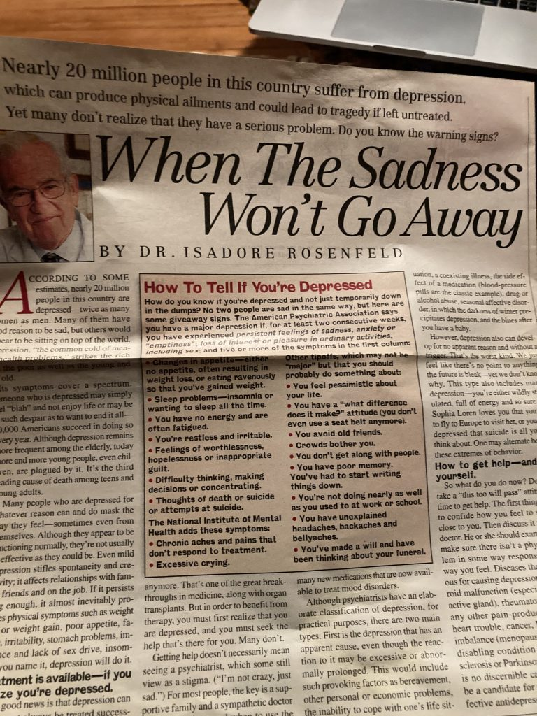 """when the sadness won't go away"" article"