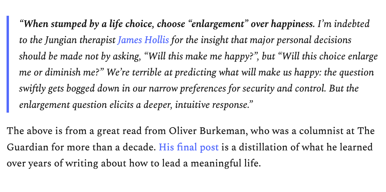 quote from tiny revolutions newsletter about life choices