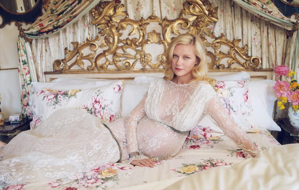 Dunst wears a Rodarte gown. The Vermont Country Store bedsheets. Photographed by Zoë Ghertner. Courtesy of W Magazine.