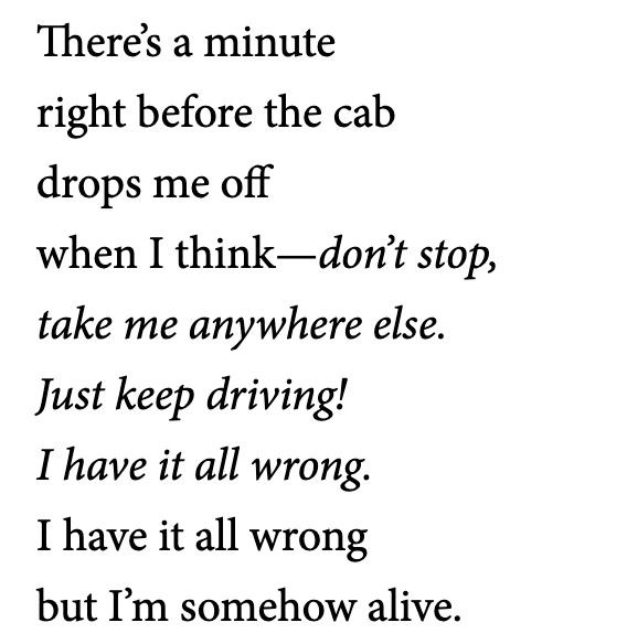 """excerpt from """"Poem Written in a Cab"""" by Alex Dimitrov"""